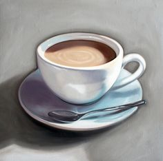 "Cup of Coffee - 12"" x 12"" Oil Painting on Wood Panel Available @ stores.ebay.com/laurenpretoriuspaintings"