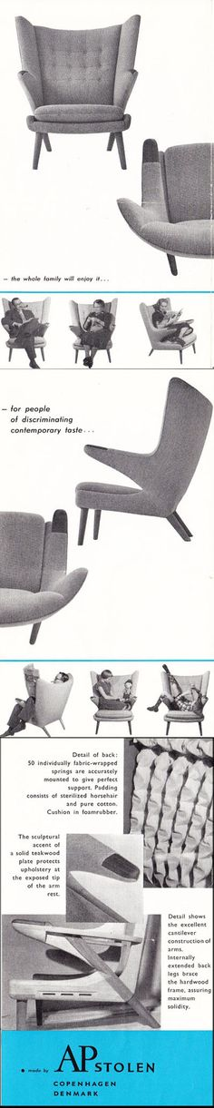 1960's Papa Bear Chair Brochure ( mid century / beautiful chair design / living room / vintage advertisment )