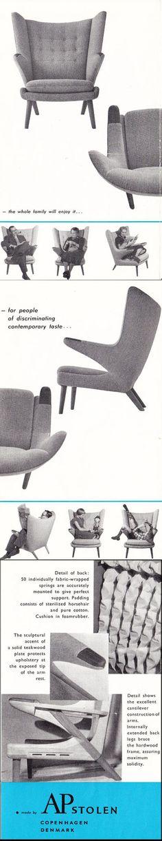 1960's Papa Bear Chair Brochure ( mid century / beautiful chair design / living room / vintage advertisment )