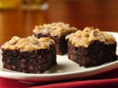German Chocolate Brownies  Forget about the GMO Betty Crocker mix, use King Arthur flour or Arrowhead Mills instead. Make it dairy free by using coconut oil and coconut milk.