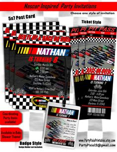 Nascar birthday party invitations nascar pinterest nascar nascar birthday invitations 5x7 card or by partypixieprintables filmwisefo Choice Image