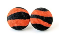 Animal print button earrings studs tiger orange by KooKooCraft, $9