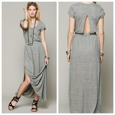 """FP Gray Audrina Maxi Free people FP Beach Audrina Maxi: Elegant shape with cool, casual style. Super versatile. You can dress it up or dress it down. Only worn once. Elastic Waist. Hidden Pockets. Open back cutout. Slits up both sides to the knee. Shoulder to hem is 58"""" in length. Super soft, stretchy, breathable 100% cotton jersey material. Machine washable. Sold out everywhere. Model is 5' 10"""" wearing a size small. From a smoke-free, pet-free home. Price is firm unless bundled. Free People…"""