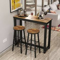 3 Piece Set Pub Table Bar Stools Dining Furniture Counter Height Chairs Brown for sale online Bar Table Sets, Patio Bar Set, Office Break Room, Small Kitchen Tables, Kitchen Dining, Kitchen Nook, High Top Table Kitchen, Kitchen Bar Decor, Small Kitchens