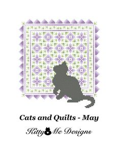 Cross Stitch Pattern PDF  Cats and Quilts May  by arcadecache, $8.95