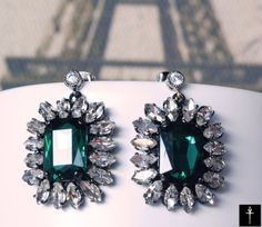 Your place to buy and sell all things handmade Glass Earrings, Pendant Earrings, Chandelier Earrings, Victorian Chandelier, Glass Pendants, Colored Glass, Bridal Jewelry, Emerald, Vintage Fashion