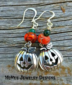 Pumpkin earrings. Silver pumpkin charms and stones. McKee Jewelry Designs