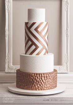 Geometric Hammered Copper Wedding Cake