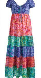 Hippy Dress~Ethnic Print  Maxi Dress with Cap Sleeve~Fairtrade by Folio Gothic Hippy