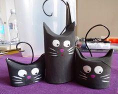 46 easy-to-use Halloween ideas for crafting with paper rolls- 46 kinderleichte Halloween-Ideen für Basteln mit Klorollen halloween cat crafts with scrolls - Toilet Roll Craft, Toilet Paper Roll Art, Rolled Paper Art, Toilet Paper Roll Crafts, Diy Paper, Toilet Tube, Cat Crafts, Animal Crafts, Diy For Kids