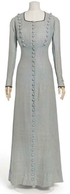 "1906 Paul Poiret ""Garvani"" Summer Dress (linen with fabric covered buttons and satin edged sleeves)"