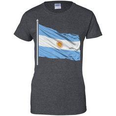argentina flag -01 Ladies Custom 100% Cotton T-Shirt