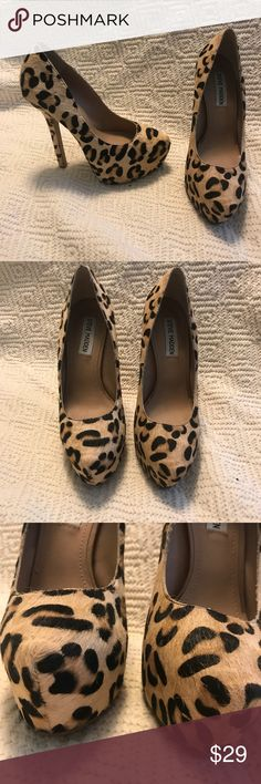 8e6b58e9e045 Steve Madden Leopard Print Leather Pony Hair Heel Steve Madden Leopard  Print Leather Pony Hair Platform
