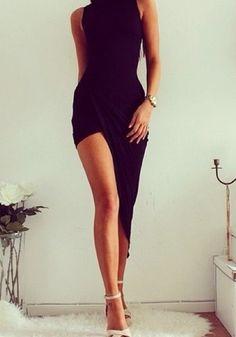 Black Plain Irregular Sleeveless Sexy Dress
