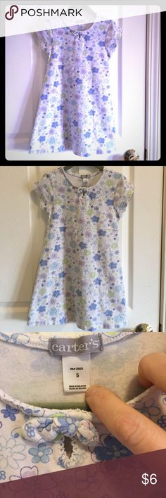 Carter's Adorable Cotton Spandex Floral Knit Dress Beautiful and Comfortable Carters 95% Cotton and 5% Spandex Knit dress with blue, purple and green whimsy flowers throughout. Only worn twice. Great summer dress. Size 5 Carter's Dresses Casual