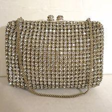 Vintage Antique Rhinestone Purse Bag Handbag Austria Crystals