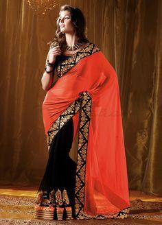Elegant Partywear and Wedding Heavy Embroidered Georgette Saree NKK-4010
