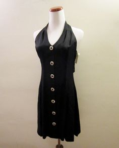 Vintage Unworn 80s Black Mini Dress Button Down by TheLostCloset, $50.00