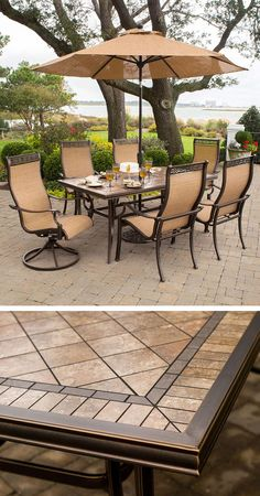 This Hanover Monaco outdoor patio set is a great choice for outdoor entertaining, or just relaxing on the back deck. Included in this set are four sling-back dining chairs, two sling-back swivel chairs and a large outdoor dining table. The hand-laid porcelain tiles on the top of the dining table make a lovely complement to the sand color of the chairs.