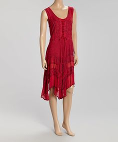 Love this Red Embroidered Lace-Up Dress on #zulily! #zulilyfinds