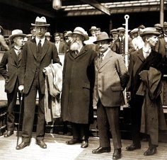The British Empire reached an accord with the Irish revolutionary group Sinn Fein and Ireland was to become a free state -  Eamon De Valera and his party on the Irish boat at Holyhead (L-R) R C Barton,Eamon De Valera, Count Plunkett, Arthur Griffiths and Austin Stack - 12 July 1921.