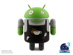 Android Mini Series 3 Barista Bot by Andrew Bell Figure Height: Medium: Vinyl Edition: Limited Smells like coffee! Andrew Bell, Android Series, Lowbrow Art, Vinyl Toys, Best Christmas Gifts, Series 3, Barista, Save Energy, Plushies