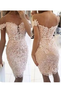 Lace Homecoming Dresses, Sexy Short Sheath Off-the-Shoulder Homecoming Dress Sexy Lace Evening Dress, Short Prom Dress, Lace Prom Dress, Woman Dresses