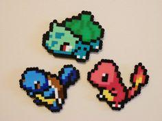 Pack of Three Starter Pokemon Perler Bead Refrigerator Magnets