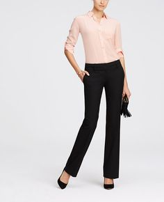 "Perfectly proportioned, expertly detailed and simply seasonless, this trouser leg pair is made with our endlessly flattering all-season stretch fabric. Our modern fit, leaner through your hips and thighs. Contoured curtain waistband offers extra tailoring detail for a better fit. Front zip with double hook-and-bar closure. Belt loops. Front off-seam pockets. Back besom pockets. 33"" inseam."