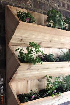 Little Garden Design Cedar Wall Planter { Free DIY Plans } Rogue Engineer.Little Garden Design Cedar Wall Planter { Free DIY Plans } Rogue Engineer Small Vegetable Gardens, Vegetable Garden For Beginners, Gardening For Beginners, Diy Wall Planter, Fence Planters, Planter Boxes, Planter Ideas, Outdoor Wall Planters, Concrete Planters