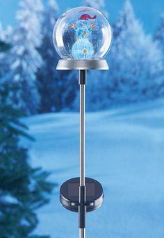 Holiday Solar Snowman Globe Stake