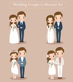 Cute wedding bride and groom couple set for wedding invitation card Premium Vector Arab Wedding, Wedding Images, Wedding Couples, Cute Couples, Wedding Bride, Wedding Cards, Wedding Invitation Card Template, Blue Wedding Invitations, Floral Invitation