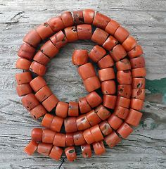 (B) 19C Antique Red Coral Beads Turkoman Turkmen Bukhara Old Tribal NR ~ from BALTHAZARA on eBay