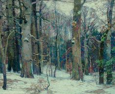 Forest Silence, 1917 by John Fabian Carlson on Curiator, the world's biggest collaborative art collection. Winter Landscape, Landscape Art, Landscape Paintings, Nature Paintings, Oil Paintings, Painting Snow, Winter Painting, American Impressionism, Snow Scenes