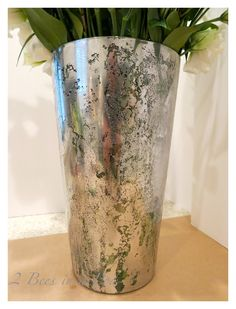 The finished look -Great DIY Mercury Glass project -Looking glass spray paint, water and apple cider vinegar and something to paint are all ...