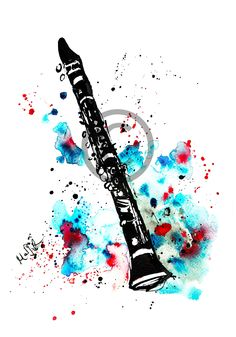 clarinet illustration drawing music