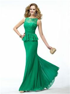 Modern Trumpet Mermaid Bateau Neckline Lace Evening Dress