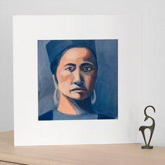 Portrait femme Hmong, peinture acrylique et pigments, impression en édition limitée, tirage pigmentaire Beaux Arts (Fine Art)
