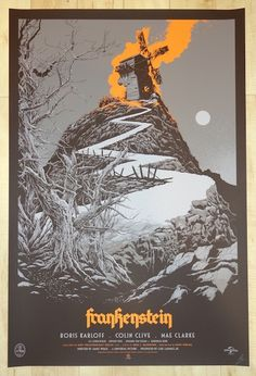 """Frankenstein - silkscreen movie poster (click image for more detail) Artist: Ken Taylor Venue: N/A Location: N/A Date: 2014 Edition: 375; signed and numbered Size: 24"""" x 36"""" Condition: Mint Notes: thi"""