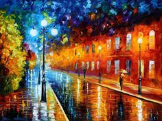 """Blue Lights"" by Leonid Afremov, oil on canvas."