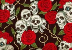 Skull and Roses Day of the Dead Alexander Henry by TheCraftyTree, $10.50