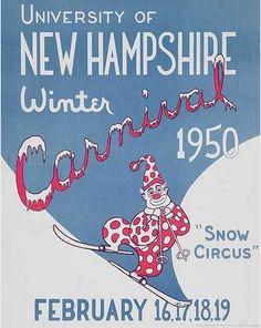 University of New Hampshire Winter Carnival 1950 vintage Ski Poster