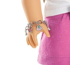 Silver charm bracelet - The new Girl of the Year will make her debut soon! Stay tuned for more sneak peeks and hints about her story. American Girl Doll Sets, American Girl Clothes, American Dolls, American Girl Accessories, Barbie Accessories, Ag Dolls, Girl Dolls, America Girl, Our Generation Dolls