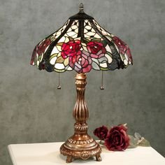 Rosalee Bouquet Stained Glass Table Lamp with CFL Bulbs