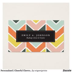 Personalized | Cheerful Chevron by Origami Prints @zazzle #zazzle #businesscard #card #businesscard #employee #employer #jobinterview #job #jobs #buy #products #accessories #accessory #cards #hustle #work #worker #working #Information #info #buy #shop #shopping #sale #design #designer #designs #chevron #pattern #minimal #color #blue #Yellow #orange #red #chic #style #cool