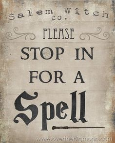 Please Stop in for Spell Free Halloween Printable