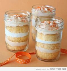Cupcake In A Jar=Turn a regular cup cake into a one of a kind desert. Make your cup cakes, store bought or homemade, Get your self some empty mason jars. Once the cup cakes are cool, remove from tin, slice sideways in three separate pieces. Note: Use a shark knife, you can freeze the cakes for awhile as to avoid crumbs.