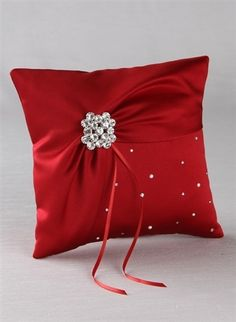 Celebration Ring Pillow in Claret Wedding Pillows, Ring Pillow Wedding, Cute Engagement Rings, Tie Pillows, Cushion Cover Designs, Cushion Covers, Tiffany Wedding Rings, Pillow Crafts, Crochet Cushions