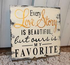 "Romantic Bedroom Projects • Try these decorating ideas to up the romance, like this ""Love Story"" sign by 'Gingerbread Romantic'!"