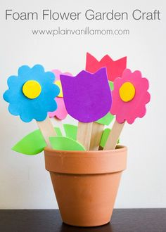 Foam Flower Garden Craft. Makes an adorable kid made Mother's Day gift too! - Plain Vanilla Mom